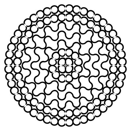 Round shape with circle dots. Vector chain template texture.