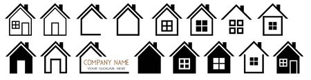 House vector icons Set logo symbols on white Illustration