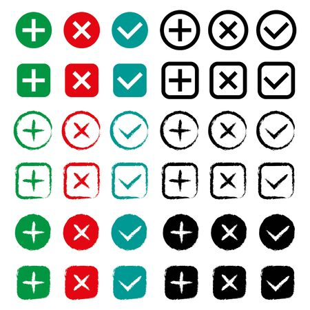 Tick and cross signs set. Right and wrong choices.
