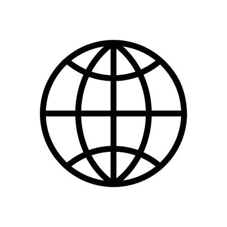 Internet network vector flat globe icon on white.