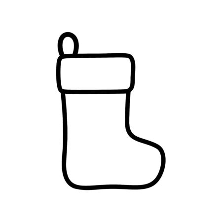 Christmas or New Year boot stroke icon for gifts