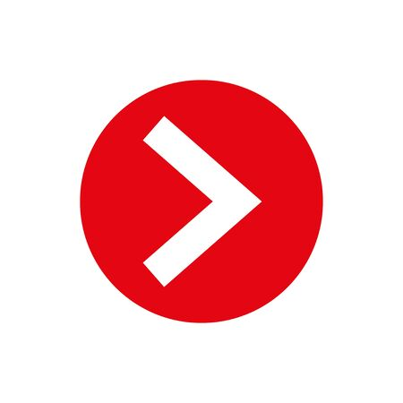 Next arrow vector. Flat red circle shape and arrow Ilustração