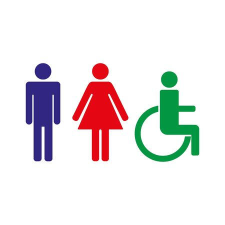 Man, lady and disabled toilet sign, Vector illustration Stock fotó