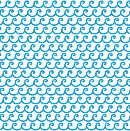 Greek blue waves seamless vector pattern ornament 向量圖像