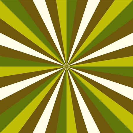 Green Sunburst vector pattern background with christmas retro vintage colors swirled radial striped design. Vettoriali