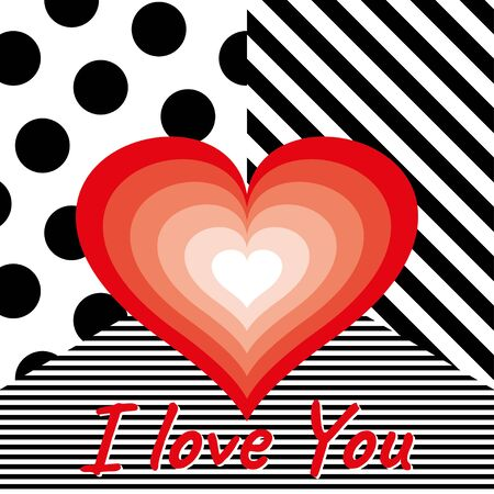 Red Heart on black and white modern stripes and dots background on Valentine s Day, declaration of love Foto de archivo - 137957671