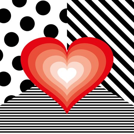 Big red heart on striped and dots pattern vector Foto de archivo - 137971217