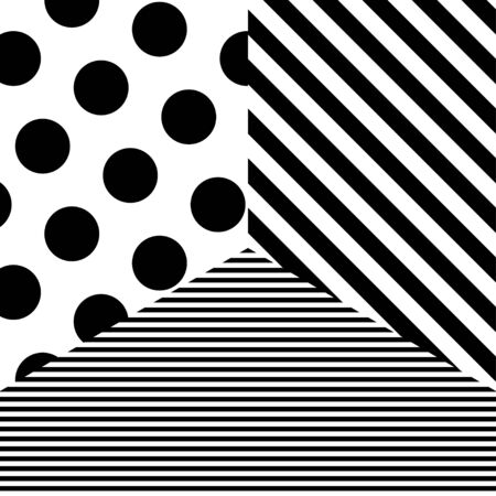 Abstract pattern with black dots and stripes