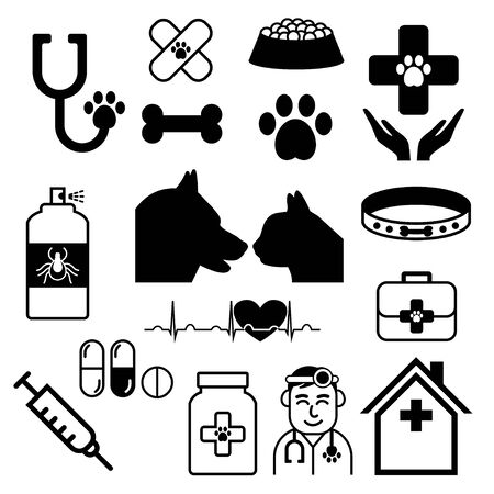 vet vector set or collection with doctor, dog, cat Vektoros illusztráció