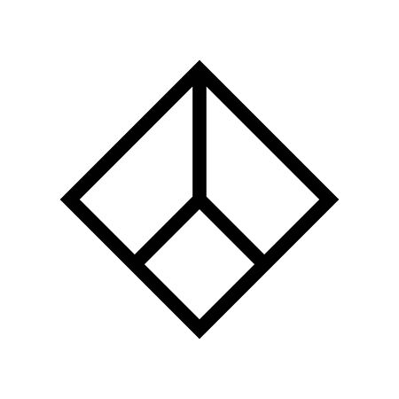 Geometric square shape sign from identical lines Illustration