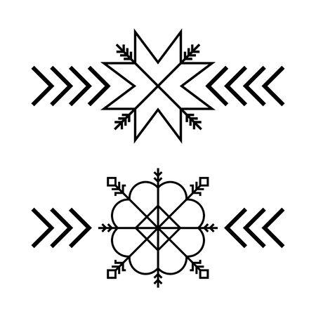 Old baltic Folk star or flower snowflake symbol.