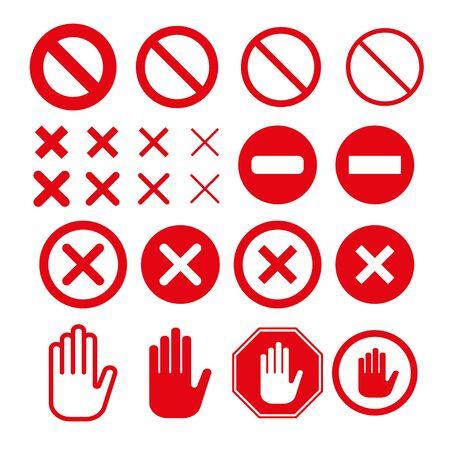 Prohibition Stop sign set with different stroke widths. Ilustración de vector