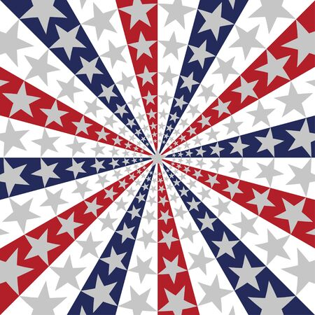 American flag sunburst background with stars and stripes symbolizing 4th of july independence day. Vector and illustration