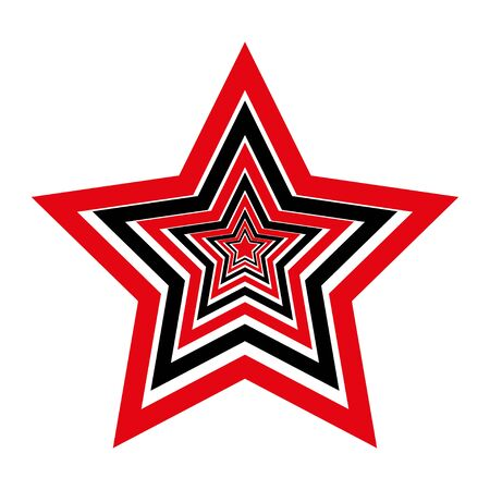 Five pointed star vector icon isolated on white