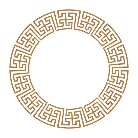 Golden Greek key round frame. Typical egyptian, assyrian and greek motives circle border. Arabic geometric texture. Islamic Art. Abstract geometric. Vector and illustration.