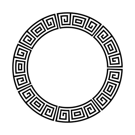 Greek key round frame. Greek border. Vector Vector Illustration