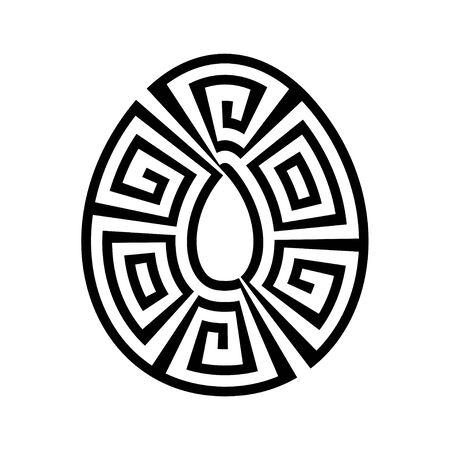 Greek key round frame egg. Greek border. Vector