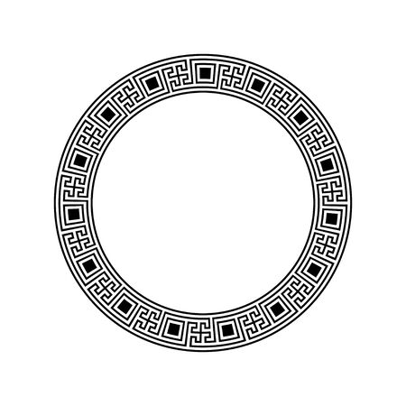 Greek key round frame. Greek border. Vector Stock Photo