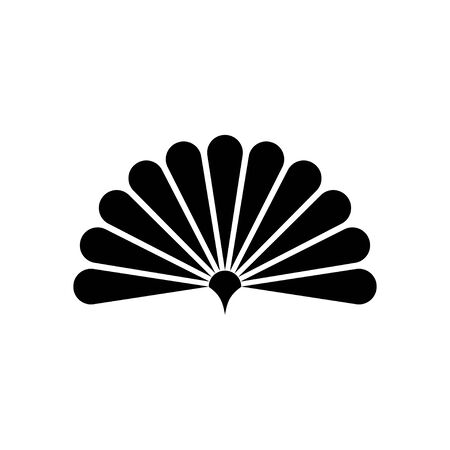 Handheld fan icon isolated on a white background. Chinese folding hand fan art vector icon for apps and websites Vector Illustration
