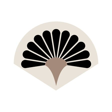 Handheld fan icon isolated on a white background. Chinese folding hand fan art vector icon for apps and websites