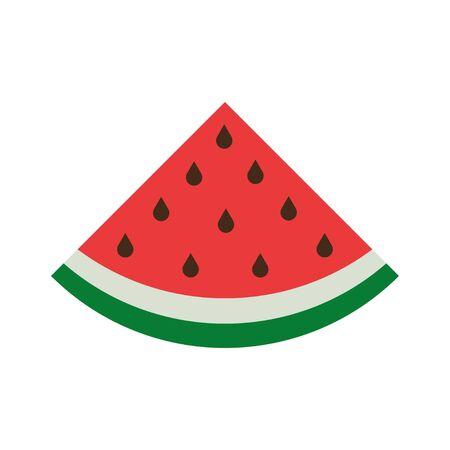 Slice of Watermelon sign, flat design vector isolated on white background. Vektorové ilustrace