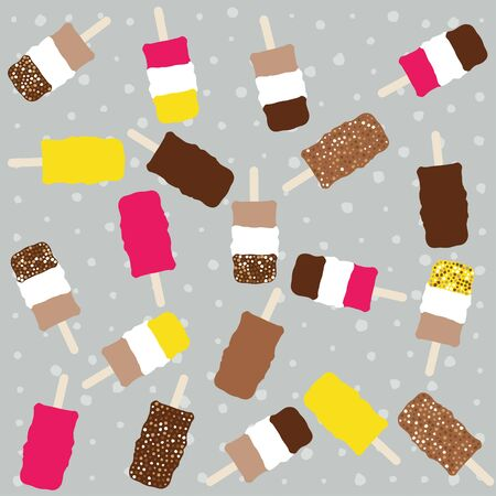 Ice cream seamless pattern. Chocolate ice cream Illustration