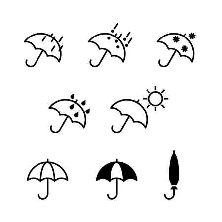 Umbrella icons weather set flat design symbols