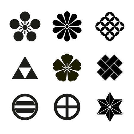 Japanese Signs symbols set or collection on white 版權商用圖片 - 159285900