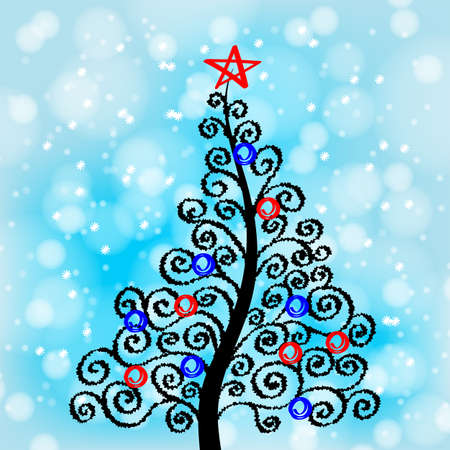 Christmas tree art vector background. Greeting card or invitation