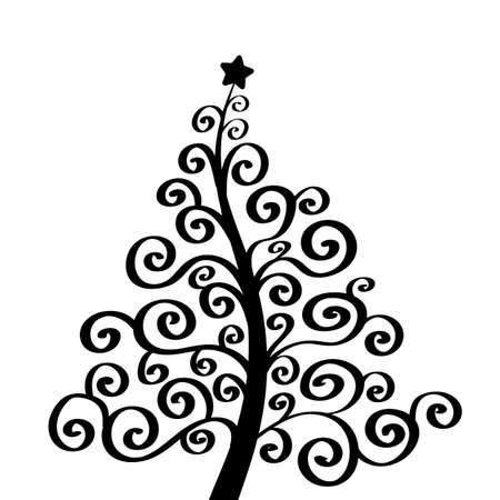 Christmas tree art vector background. Greeting card or invitation 版權商用圖片 - 159321008