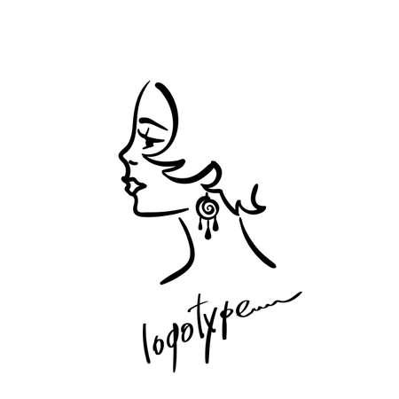 Woman female head line silhouette for logo