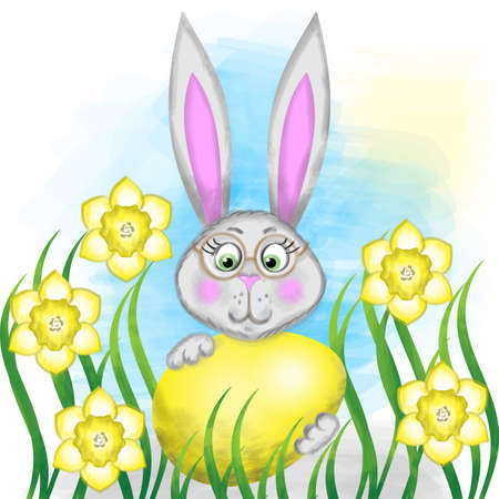 Watercolor Easter Rabbit, bunny and egg, daffodils