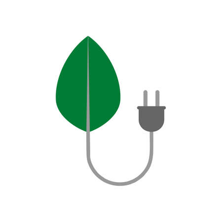 Green leaf and plug icon isolated on white background. 版權商用圖片 - 159706017