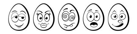 Funny Easter Eggs with emoticon character faces