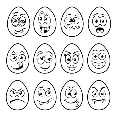 Fun Easter Eggs set with emoticon character faces