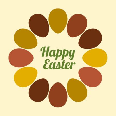 Easter eggs Round frame on light background.