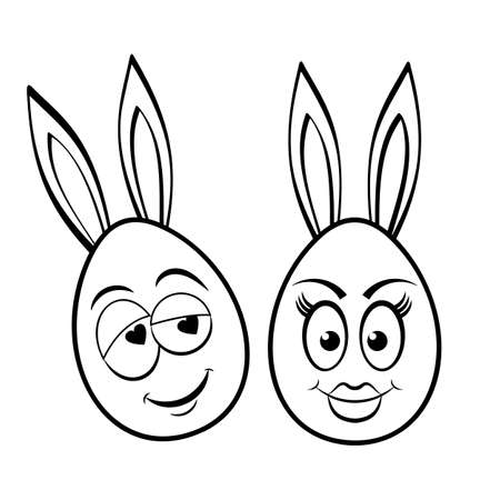 Funny Easter eggs characters with bunny ear.