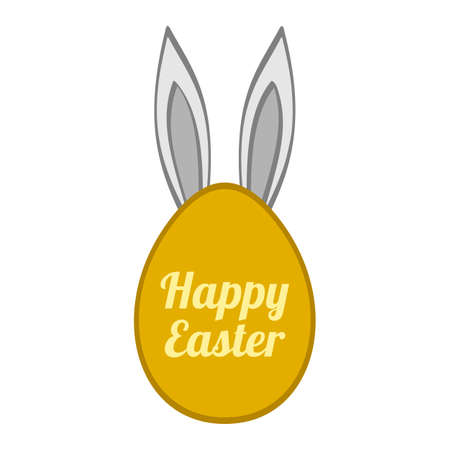 Funny Easter egg shape or frame with bunny ears. 向量圖像