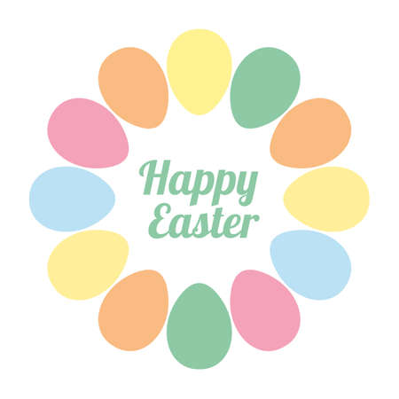 Colorful happy Easter eggs on Round frame 向量圖像