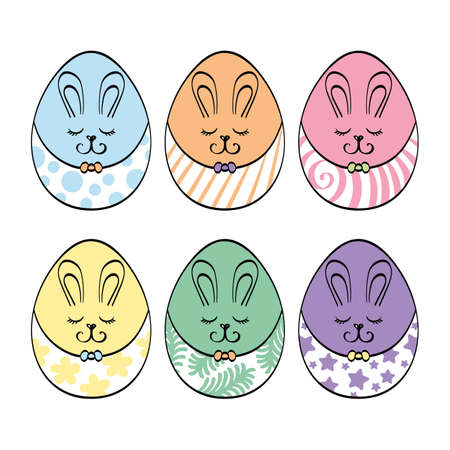 Funny colorful Easter eggs set with bunny ear. 向量圖像