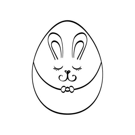 Easter bunny rabbit egg isolated on white background vector illustration. Cute cartoon character.