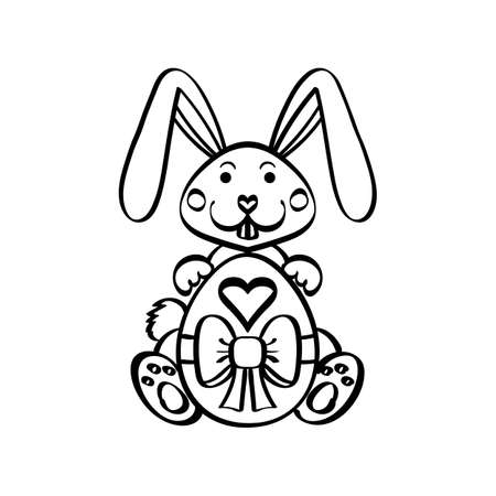Easter bunny rabbit with egg isolated on white background vector illustration. Cute cartoon character.