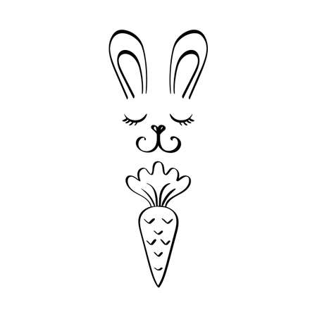 Cute bunny rabbit face with carrot on white