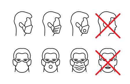 Man face with mask icon vector in trendy flat style