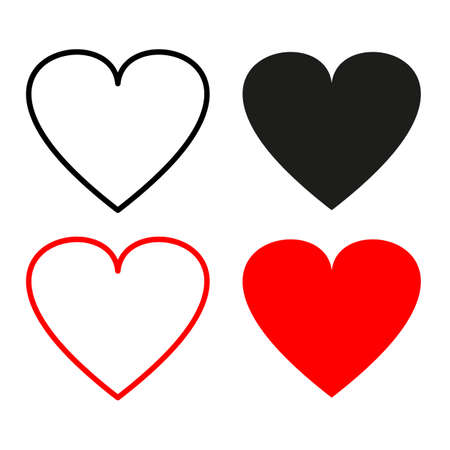 Love symbol icon set, Valentine day. Collection of heart