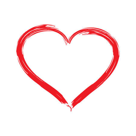 Vector Heart shape frame with brush painting