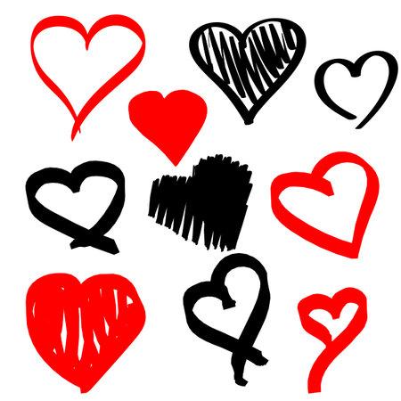 Set of hand drawn marker heart on white background. 向量圖像