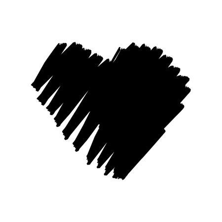 Brush heart shape design for love symbols. 向量圖像