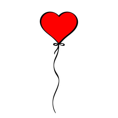 Red Heart shaped balloon love icon, Valentine s day