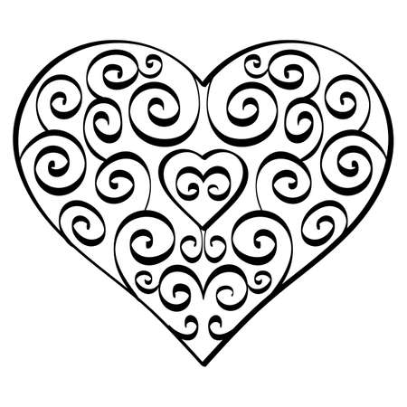 Heart shape with floral swirls. Heart with curls 向量圖像